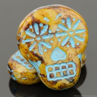 Sugar Skull (20x17mm) Ivory Opaque with Picasso Finish and Turquoise Wash