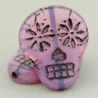 Sugar Skull (20x17mm) Pink Opaline with Black Wash