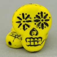Sugar Skull (20x17mm) Lemon Yellow Opaque with Black Wash