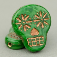 Sugar Skull (20x17mm) Green Silk with Dark Bronze Wash