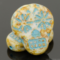 Sugar Skull (20x17mm) White Opaque with Picasso Finish and Turquoise Wash