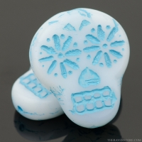 Sugar Skull (20x17mm) White Opaque with Turquoise Wash