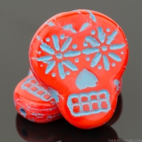 Sugar Skull (20x17mm) Coral Red Opaque with Turquoise Wash