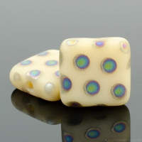 Pressed Square (9mm) Ivory Opaque Matte with Vitrail Dots