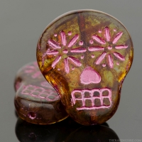 Sugar Skull (20X17mm) Crystal Transparent with Picasso Fullcoat and Pink Wash
