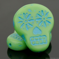 Sugar Skull (20x17mm) Mint Green Opaque with Turquoise Wash