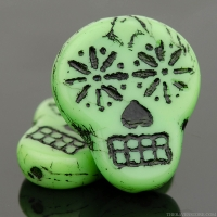 Sugar Skull (20x17mm) Mint Green Opaque with Black Wash