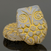 Horned Owl (18x15mm) White Opaline with Gold Wash