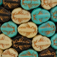 Trilobite (13x11mm) Mixed Beads Ivory, Jet, and Turquoise Opaque with Dark Bronze Wash