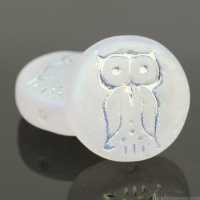 Coin with Owl (14mm) Crystal Transparent Matte with AB Finish