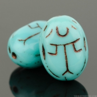 Scarab (14x10mm) Turquoise Opaque with Dark Brown Wash