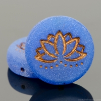 Coin with Lotus Flower (18mm) Lapis Blue Matte Opaline with Turquoise Wash and Picasso Finish