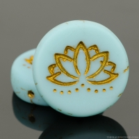 Coin with Lotus Flower (18mm) Light Blue Turquoise Opaline Matte with Gold Wash