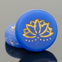 Coin with Lotus Flower (18mm) Lapis Blue Opaque Matte with Gold Wash