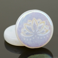 Coin with Lotus Flower (18mm) White Opaline with AB Finish (one side)