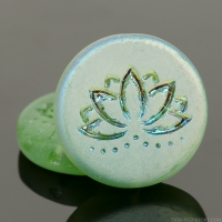 Coin with Lotus Flower (18mm) Tourmaline Green Transparent Matte with Matte AB Finish (one side)