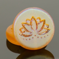 Coin with Lotus Flower (18mm) Amber Transparent Matte with Matte AB Finish (one side)