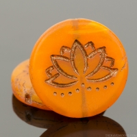Coin with Lotus Flower (18mm) Orange Opaline Matte with Dark Bronze Wash