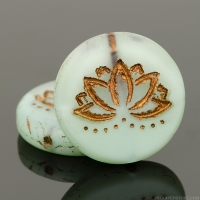 Coin with Lotus Flower (18mm) Sea Green Silk Matte with Dark Bronze Wash