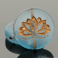 Coin with Lotus Flower (18mm) Montana Blue Transparent Matte with Dark Bronze Wash