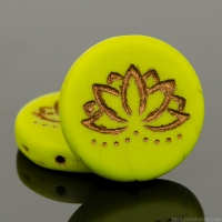 Coin with Lotus Flower (18mm) Gaspeite Green Opaque Matte with Dark Bronze Wash