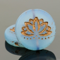 Coin with Lotus Flower (18mm) Light Blue Opaline Matte with Dark Bronze Wash