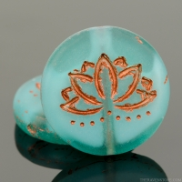 Coin with Lotus Flower (18mm) White Core Aqua Green Transparent Matte with Copper Wash