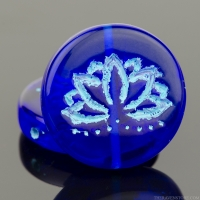 Coin with Lotus Flower (18mm) Cobalt Blue Transparent with Turquoise Wash
