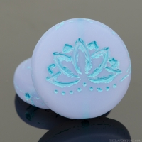 Coin with Lotus Flower (18mm) Lilac Purple Opaline Matte with Turquoise Wash