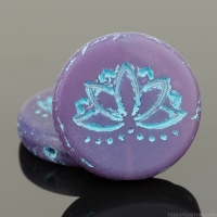 Coin with Lotus Flower (18mm) Purple Opaline Matte with Turquoise Wash