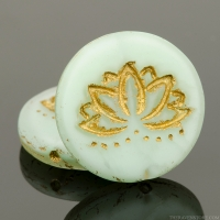 Coin with Lotus Flower (18mm) Sea Green Silk Matte with Gold Wash