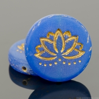 Coin with Lotus Flower (18mm) Lapis Blue Opaline Matte with Gold Wash