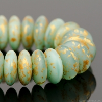 Disc Spacer (6mm) Sea Green Silk with Speckled Gold Finish