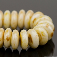Disc Spacer (6mm) Ivory Opaque with Speckled Natural Luster Finish