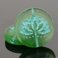 Coin with Lotus Flower (18mm) Tourmaline Green Transparent Matte with Turquoise Wash