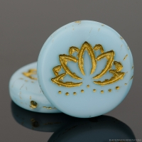 Coin with Lotus Flower (18mm) Sky Blue Silk Matte with Gold Wash