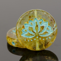 Coin with Lotus Flower (18mm) Amber Transparent with Fullcoat Picasso Finish and Turquoise Wash