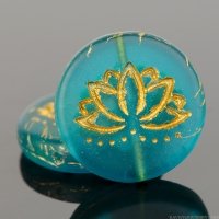 Coin with Lotus Flower (18mm) Teal Blue Transparent Matte with Gold Wash