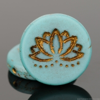 Coin with Lotus Flower (18mm) Aqua Blue Silk Matte with Dark Bronze Wash
