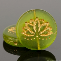 Coin with Lotus Flower (18mm) Olivine Green Transparent Matte with Gold Wash
