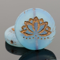 Coin with Lotus Flower (18mm) Blue Opaline Matte with Dark Bronze Wash