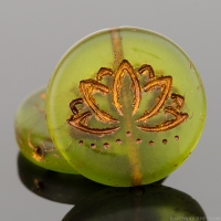 Coin with Lotus Flower (18mm) Olivine Green Transparent Matte with Dark Bronze Wash