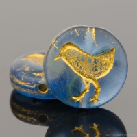 Coin with Bird (12mm) Stormy Blue Transparent Matte with Gold Wash