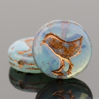 Coin with Bird (12mm) Aqua Blue Opaline with Dark Bronze Wash