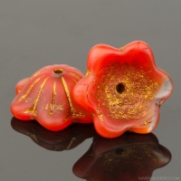 Wide Bellflower (12x6mm) Burnt Orange Silk and Topaz Transparent Mix Matte with Dark Bronze Wash