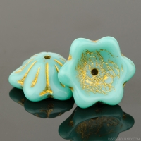 Wide Bellflower (12x6mm) Turquoise Opaque with Gold Wash