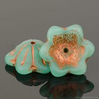 Wide Bellflower (12x6mm) Green (Chrysoprase) Opaline Matte with Copper Wash