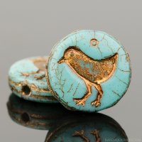 Coin with Bird (12mm) Turquoise Opaque with Dark Bronze Wash
