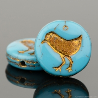 Coin with Bird (12mm) Turquoise Teal Opaque with Dark Bronze Wash