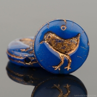 Coin with Bird (12mm) Blue (Lapis) Opaline with Dark Bronze Wash